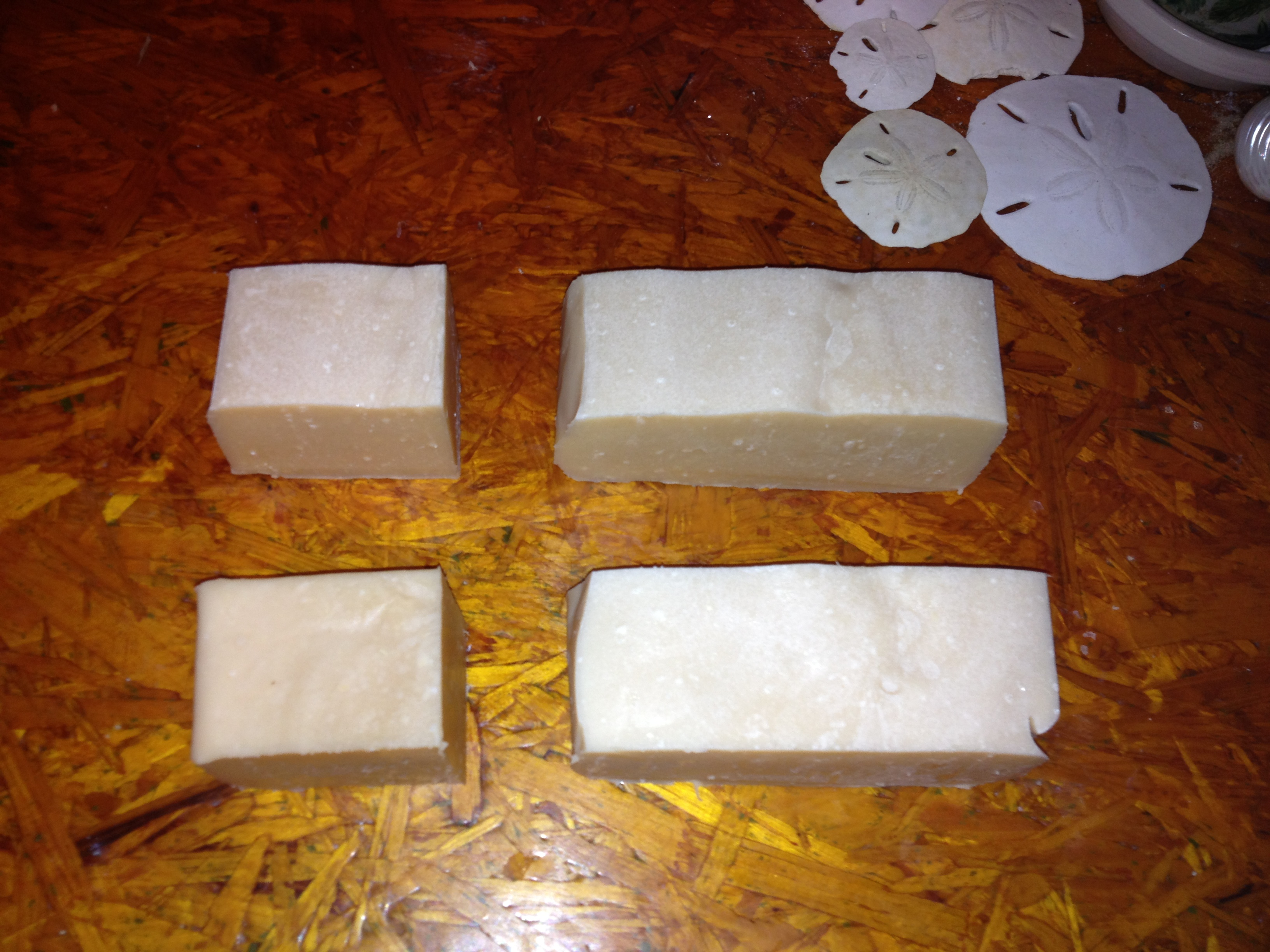 cutting handmade bars of soap at Fields Place